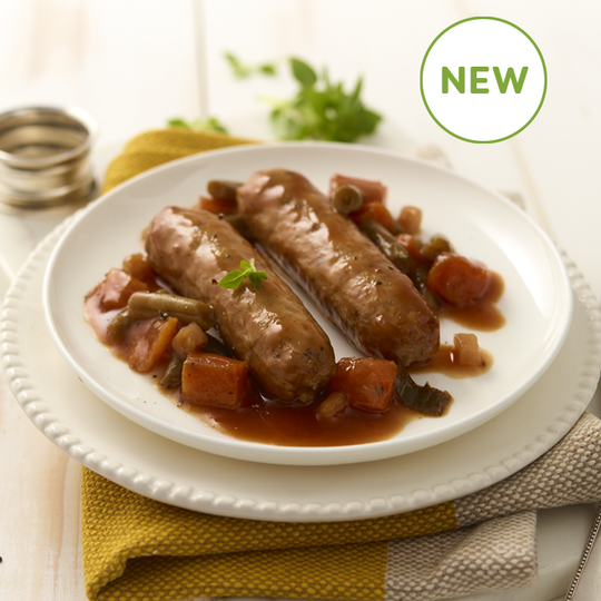 Pork Sausages in Cider Gravy