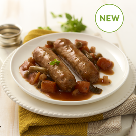 Pork Sausages in Cider Gravy